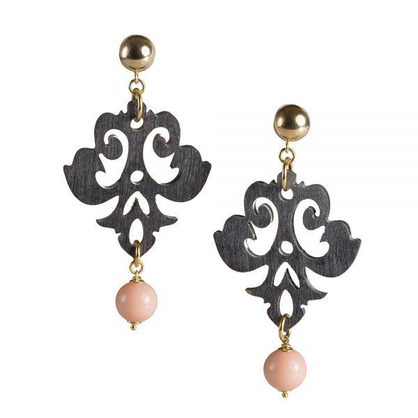 orecchini corno rosa
