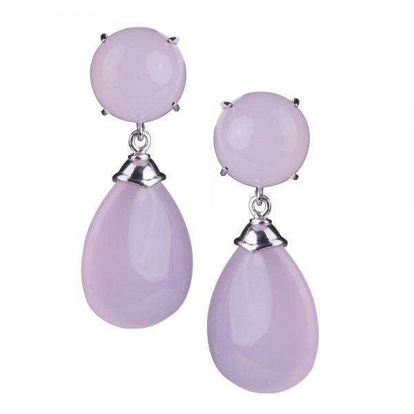 orecchini goccia quarzo rosa gioielli