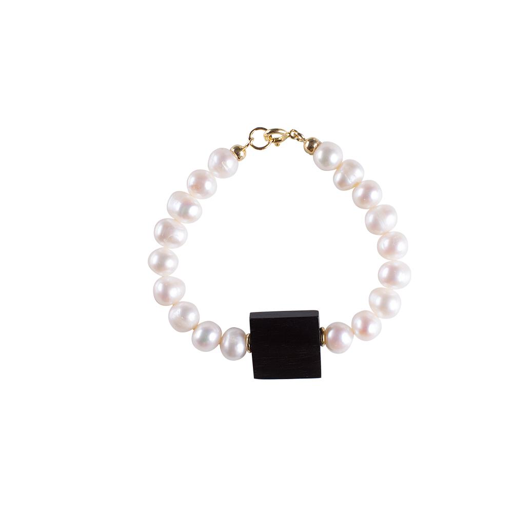 bracciale perle ebano