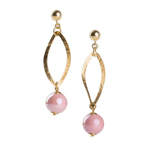orecchini ceramica rosa